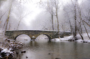 Fairmount Park Prints - Snowy Bells Mill Road Bridge Print by Bill Cannon