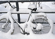 Freezing Prints - Snowy Bike Print by Heiko Koehrer-Wagner