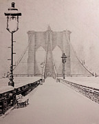 Covered Bridge Drawings Metal Prints - Snowy Brooklyn Metal Print by Danny Jimenez