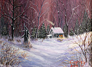 Snowscape Paintings - Snowy Cabin by CD Copley