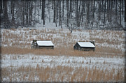 Snowy Digital Art - Snowy Cabins at Valley Forge by Bill Cannon