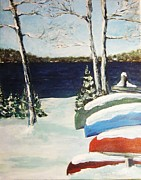 Boats In Water Paintings - Snowy Canoes By the Lake by Andrea Flint Lapins