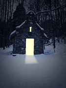 Refuge Posters - Snowy chapel at night Poster by Edward Fielding