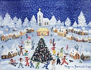 Snowfall Paintings - Snowy Christmas in a Village Square by Gordana Delosevic