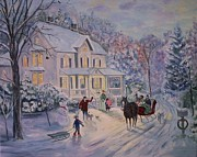 Snowfall Paintings - Snowy Christmas by Julie Brugh Riffey