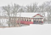 Snow . Bridge Posters - Snowy Covered Bridge  Poster by Brian Mollenkopf