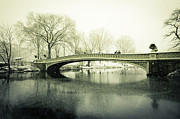Bow Bridge Digital Art Prints - Snowy Day at the Park Print by Jose Vazquez