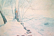 Snow Drifts Painting Posters - Snowy Day on the Little Wolf River Poster by Carolyn Rosenberger