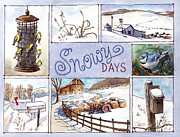 Winter Scenes Rural Scenes Prints - Snowy Days Print by Leslie Fehling