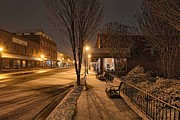 Downtown Franklin Prints - Snowy Delight in the Main Street Lights 02 Print by Eric Haggart