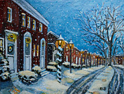 Snowy Evening Painting Posters - Snowy Evening in Garden Crest Poster by Rita Brown