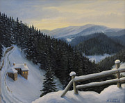 Winter Travel Painting Posters - Snowy Fairytale Poster by Kiril Stanchev
