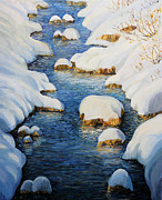 Snowy Stream Paintings - Snowy Fairytale River by Kiril Stanchev