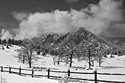 Photography Prints Prints - Snowy Flatirons Boulder Colorado Landscape View BW Print by James Bo Insogna
