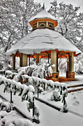 Storm Prints Prints - Snowy Gazebo - Greensboro North Carolina I Print by Dan Carmichael