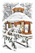 Snow Storm Prints Posters - Snowy Gazebo - Greensboro North Carolina II Poster by Dan Carmichael