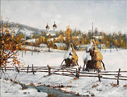 Romania Paintings - Snowy Haystacks by Petrica Sincu