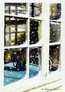 Old Pitcher Painting Prints - Snowy Inn Window Print by Deborah Burow