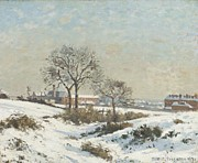 Snow Scene Digital Art Prints - Snowy Landscape at South Norwood Print by Camile Pissarro