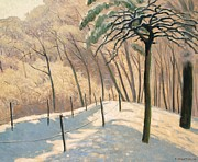 Snowfall Paintings - Snowy Landscape by Felix Edouard Vallotton