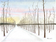Bare Trees Pastels Prints - Snowy Lane Print by Arlene Crafton
