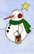 Snowy Man Print by Norma Appleton