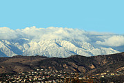 Snow-covered Landscape Framed Prints - Snowy Mountains Framed Print by Ellen Henneke