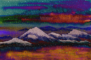 Snowy Night Night Mixed Media Posters - Snowy Mountains on a Colorful Winter Night Poster by Beverly Claire Kaiya