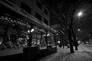 Snowy Night Metal Prints - Snowy Night In Burlington Metal Print by Mike Horvath