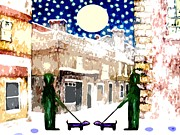 Winter Prints Mixed Media Posters - Snowy Night Poster by Patrick J Murphy