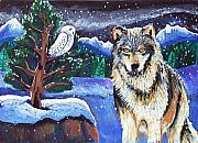 Oil Pastel Paintings - Snowy Night Wolf by Harriet Peck Taylor