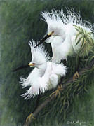 Snowy Trees Paintings - Snowy Pair by Carolyn English