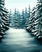 Snowy Trees Paintings - Snowy Path by Erin Scott