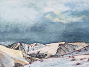 Original Art On Prints Painting Originals - Snowy Peaks by Abbie Groves
