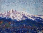 Snow-covered Landscape Painting Posters - Snowy Peaks Poster by Margaret Bobb