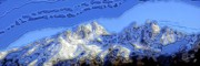Snow-covered Landscape Digital Art Prints - Snowy Peaks Print by Ron Bissett