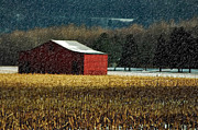 Country In Winter Prints - Snowy Red Barn In Winter Print by Lois Bryan