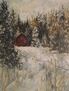 Snowscape Paintings - Snowy Retreat by Angela Sullivan