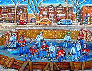 Hockey Painting Posters - Snowy Rink Hockey Game Montreal Memories Winter Street Scene Painting Carole Spandau Poster by Carole Spandau