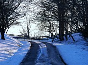 Winter Roads Metal Prints - Snowy Road Metal Print by Joyce  Kimble Smith