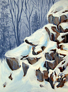 Snow Scene Drawings Prints - Snowy Rocks Print by Carol Hart