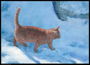 Snow Scene Drawings - Snowy Saunter by Diana Moses Botkin