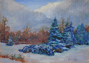 Snowscape Paintings - Snowy Scene by Joan Coffey