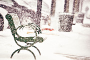 Winter Scenes Metal Prints - Snowy Seat Metal Print by Emily Stauring