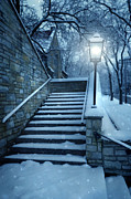 Lamplight Framed Prints - Snowy Stairway Framed Print by Jill Battaglia