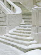 Detroit Institute Of Arts Framed Prints - Snowy Steps Framed Print by Ann Horn