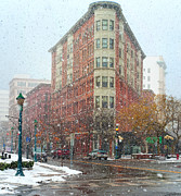 Crosswalk Photos - Snowy Street Scene in Syracuse by Kenneth Sponsler
