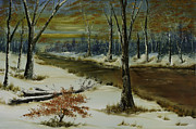 Snow Scene Painting Originals - Snowy Sunset by Steven Ward