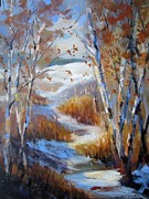 Snowy Stream Paintings - Snowy Swail by Sandra Strohschein