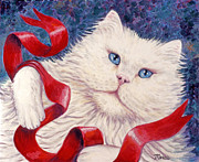 Cat Prints - Snowy the Cat Print by Linda Mears